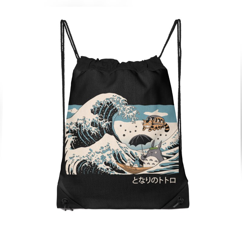 The Great Wave of Spirits Accessories Drawstring Bag Bag by Vincent Trinidad Art