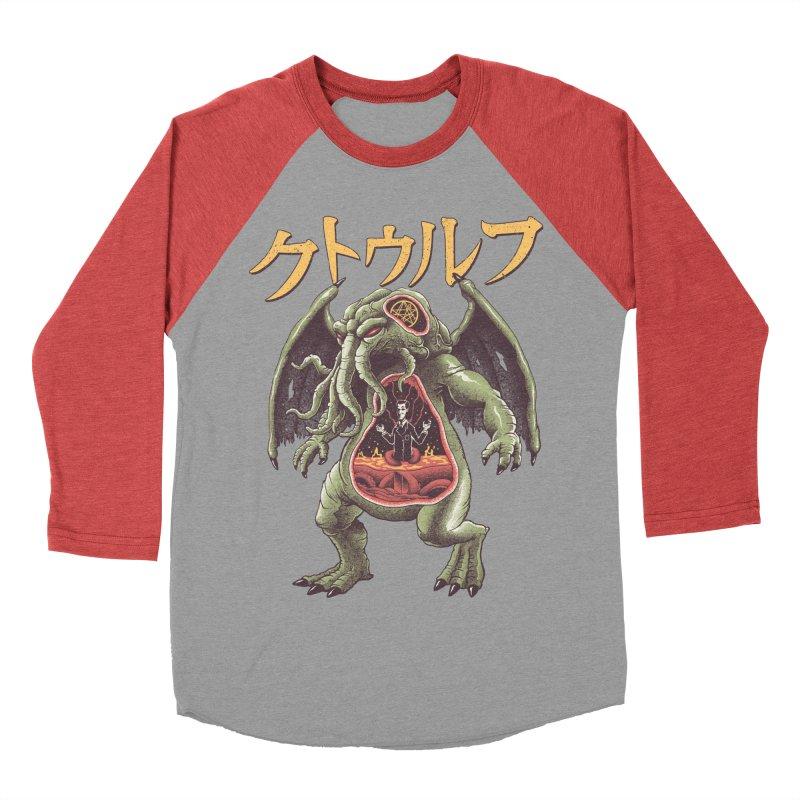 Kaiju Cthulhu Women's Baseball Triblend Longsleeve T-Shirt by Vincent Trinidad Art