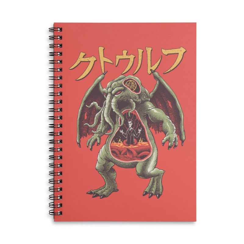 Kaiju Cthulhu Accessories Lined Spiral Notebook by Vincent Trinidad Art