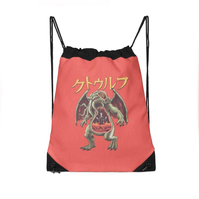 Kaiju Cthulhu Accessories Drawstring Bag Bag by Vincent Trinidad Art