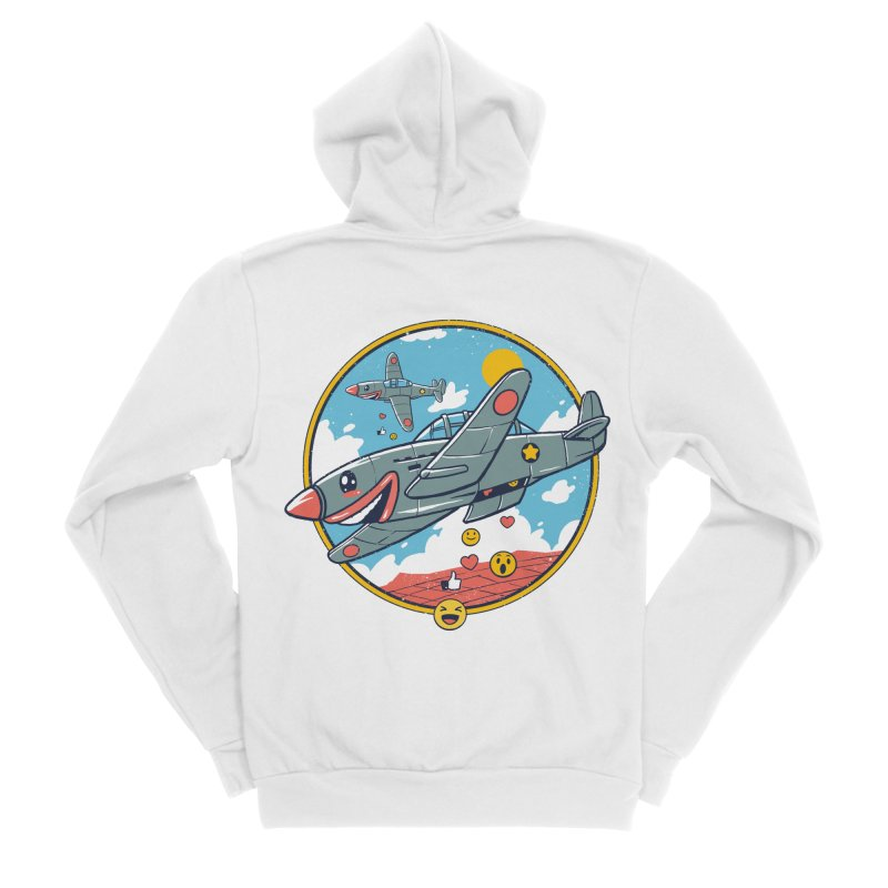 Kamikaze Likes and Smiles Women's Sponge Fleece Zip-Up Hoody by Vincent Trinidad Art