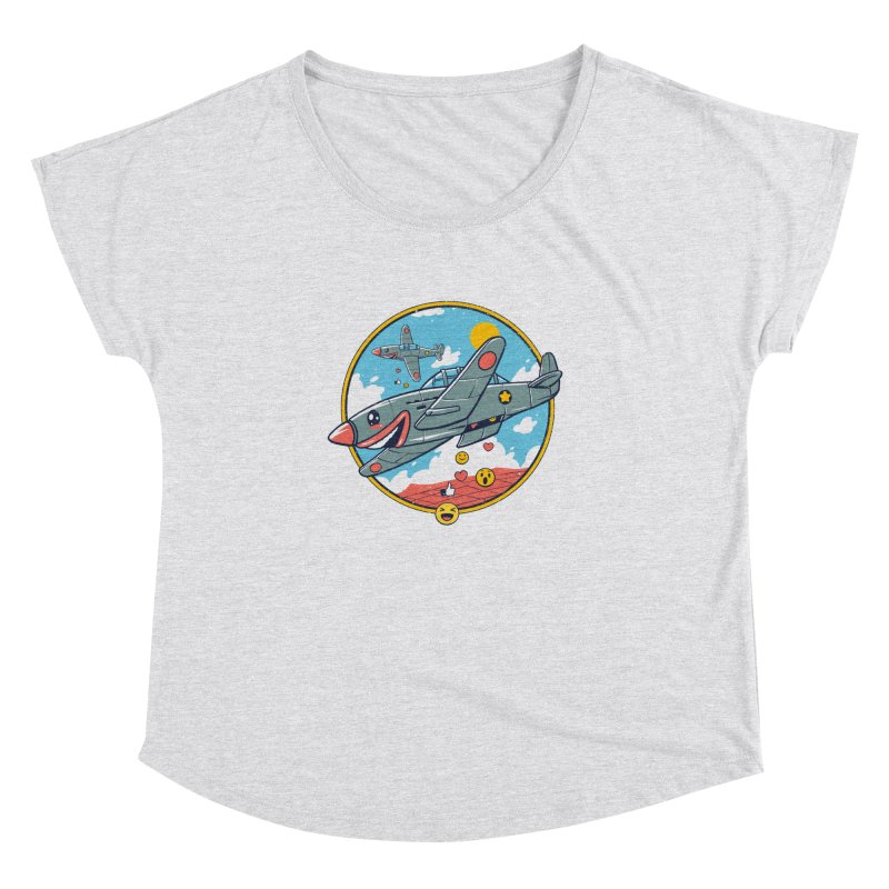 Kamikaze Likes and Smiles Women's Dolman Scoop Neck by Vincent Trinidad Art