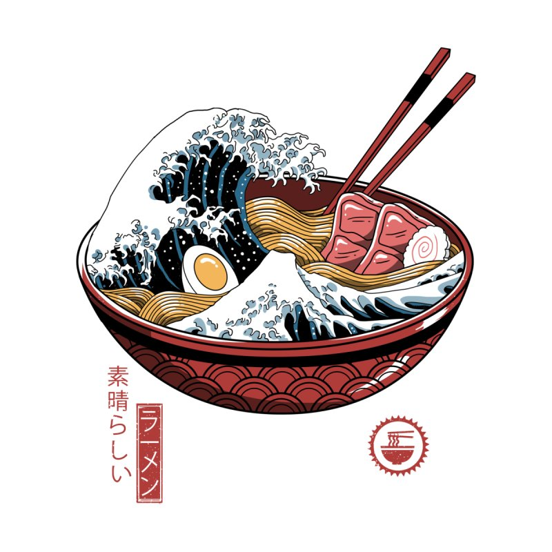 Great Ramen Wave White Women's T-Shirt by Vincent Trinidad Art