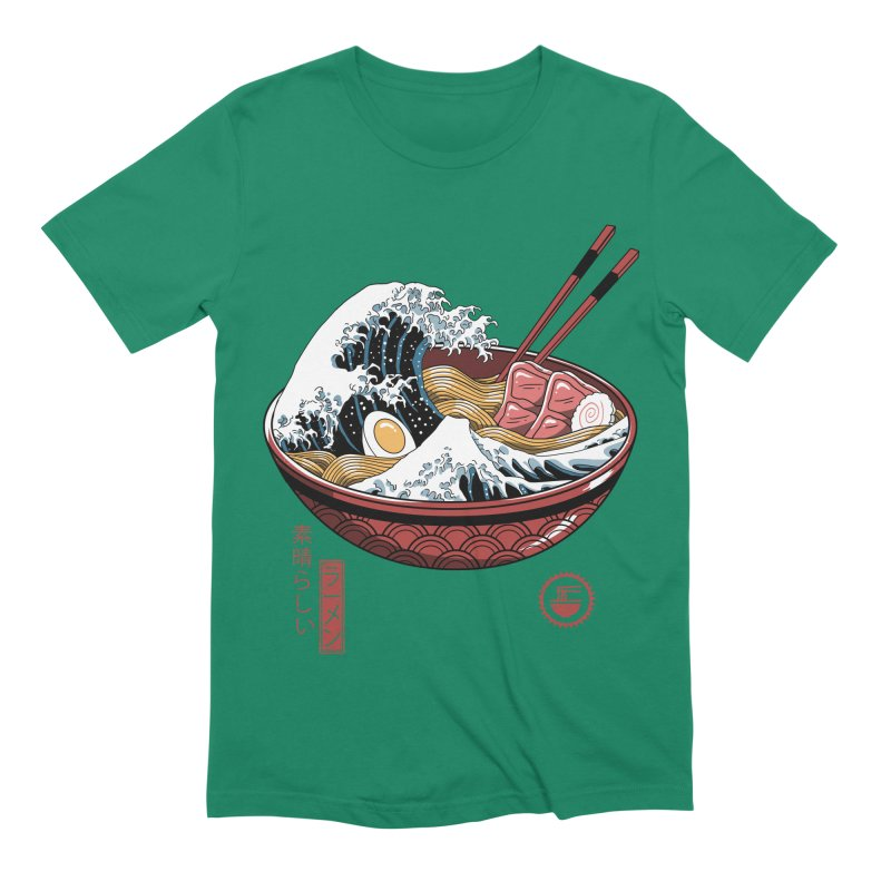 Great Ramen Wave White Men's Extra Soft T-Shirt by Vincent Trinidad Art