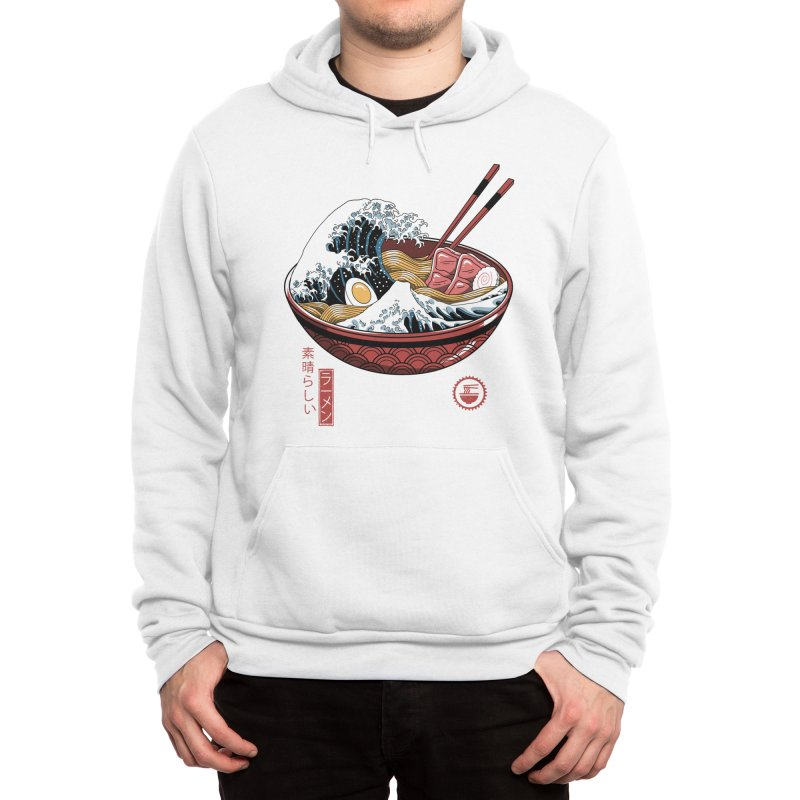 Great Ramen Wave White Men's Pullover Hoody by Vincent Trinidad Art