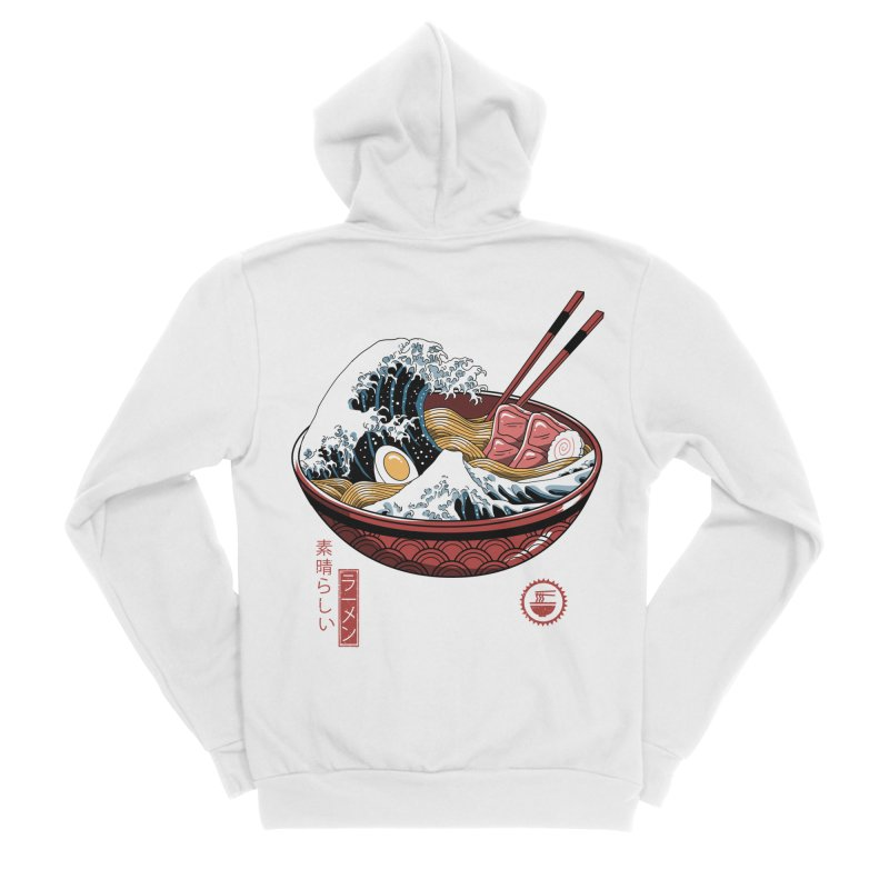 Great Ramen Wave White Men's Sponge Fleece Zip-Up Hoody by Vincent Trinidad Art