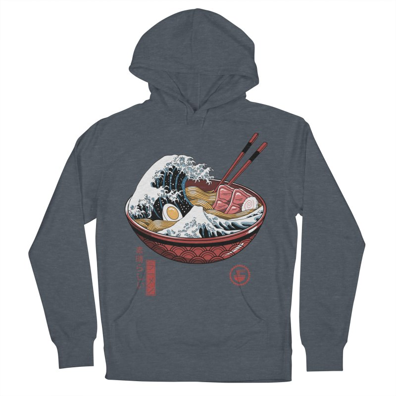 Great Ramen Wave White Men's French Terry Pullover Hoody by Vincent Trinidad Art