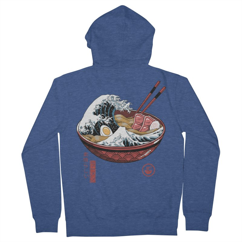 Great Ramen Wave White Women's French Terry Zip-Up Hoody by Vincent Trinidad Art