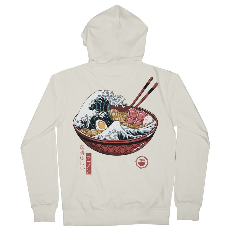 Great Ramen Wave White Men's French Terry Zip-Up Hoody by Vincent Trinidad Art