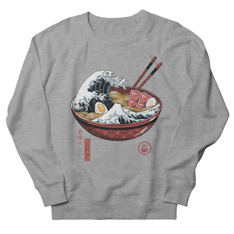 Great Ramen Wave White Women's French Terry Sweatshirt by Vincent Trinidad Art