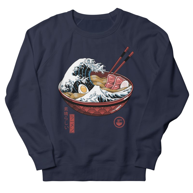 Great Ramen Wave White Men's French Terry Sweatshirt by Vincent Trinidad Art