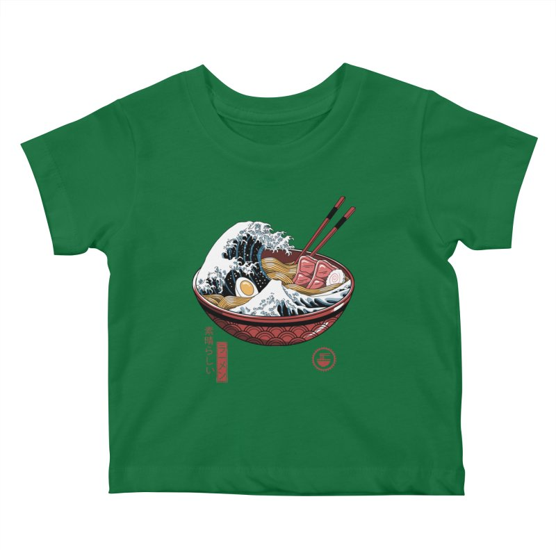 Great Ramen Wave White Kids Baby T-Shirt by Vincent Trinidad Art