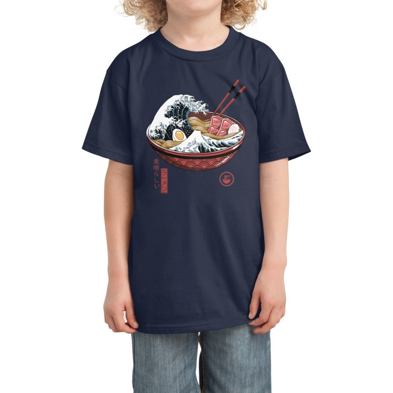 Great Ramen Wave White Kids T-Shirt by Vincent Trinidad Art