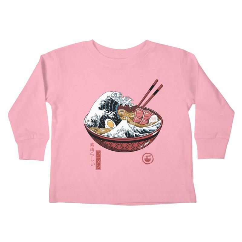Great Ramen Wave White Kids Toddler Longsleeve T-Shirt by Vincent Trinidad Art