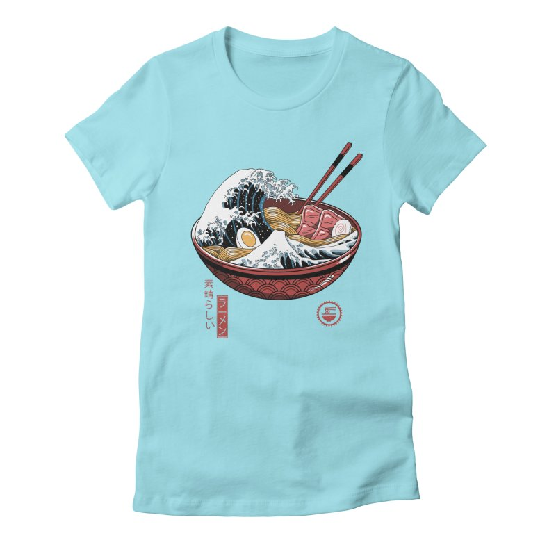 Great Ramen Wave White Women's Fitted T-Shirt by Vincent Trinidad Art