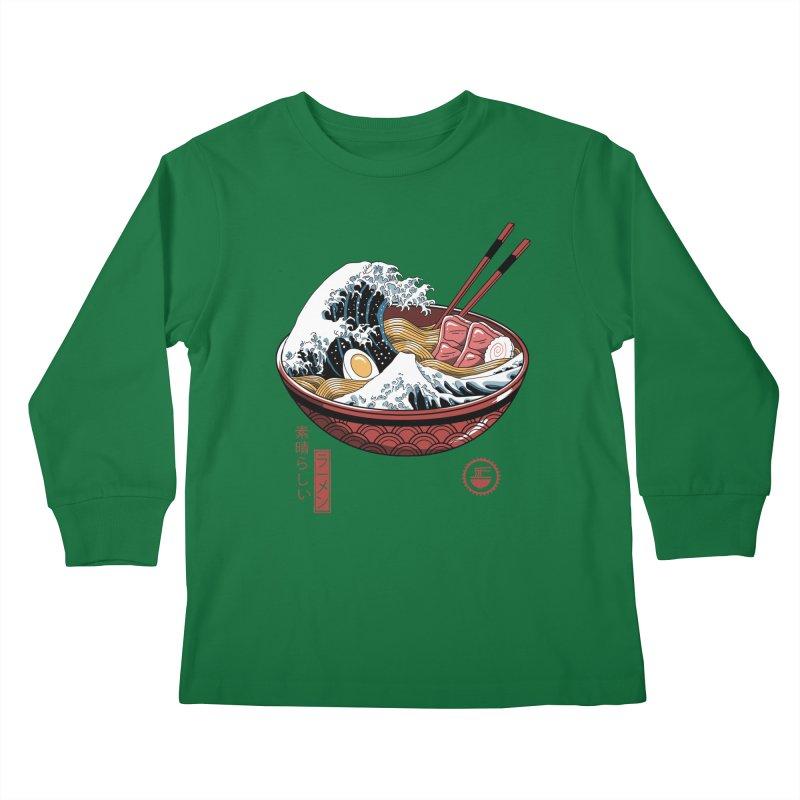 Great Ramen Wave White Kids Longsleeve T-Shirt by Vincent Trinidad Art