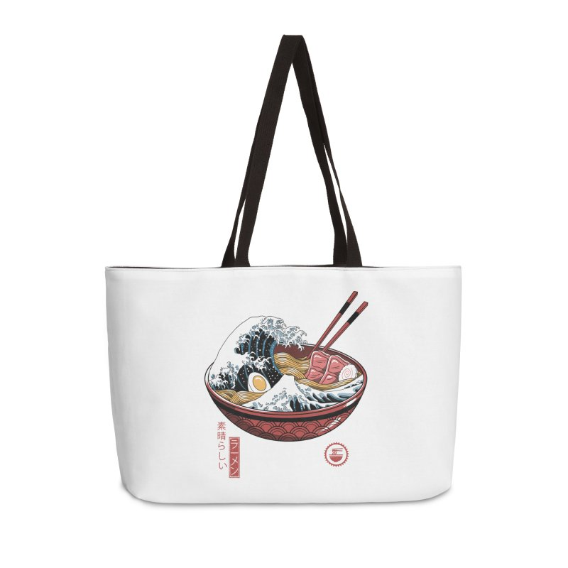 Great Ramen Wave White Accessories Weekender Bag Bag by Vincent Trinidad Art