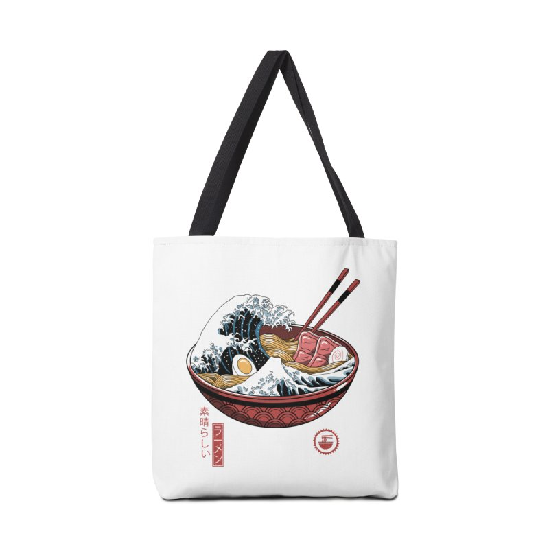 Great Ramen Wave White Accessories Tote Bag Bag by Vincent Trinidad Art