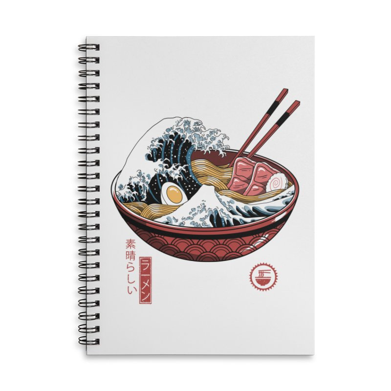 Great Ramen Wave White Accessories Lined Spiral Notebook by Vincent Trinidad Art