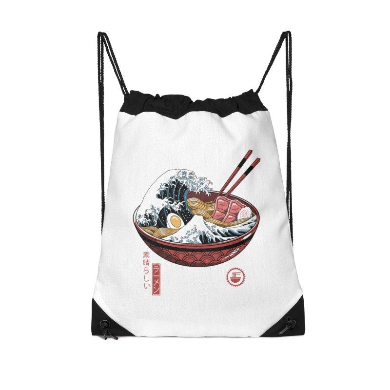 Great Ramen Wave White Accessories Drawstring Bag Bag by Vincent Trinidad Art