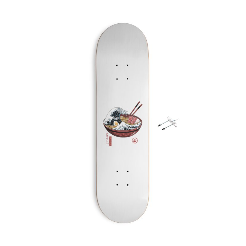 Great Ramen Wave White Accessories With Hanging Hardware Skateboard by Vincent Trinidad Art