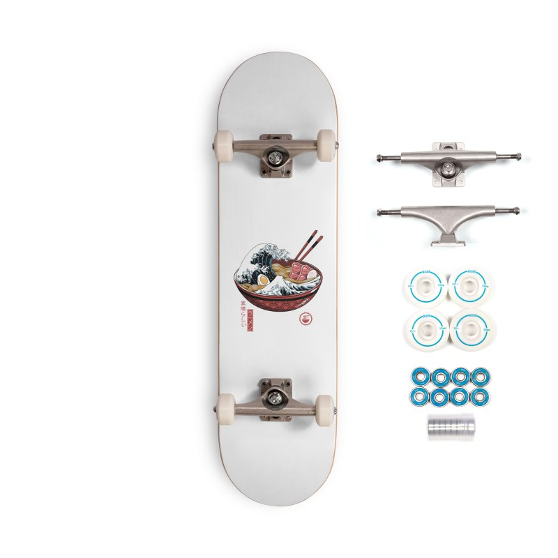 Great Ramen Wave White Accessories Complete - Basic Skateboard by Vincent Trinidad Art