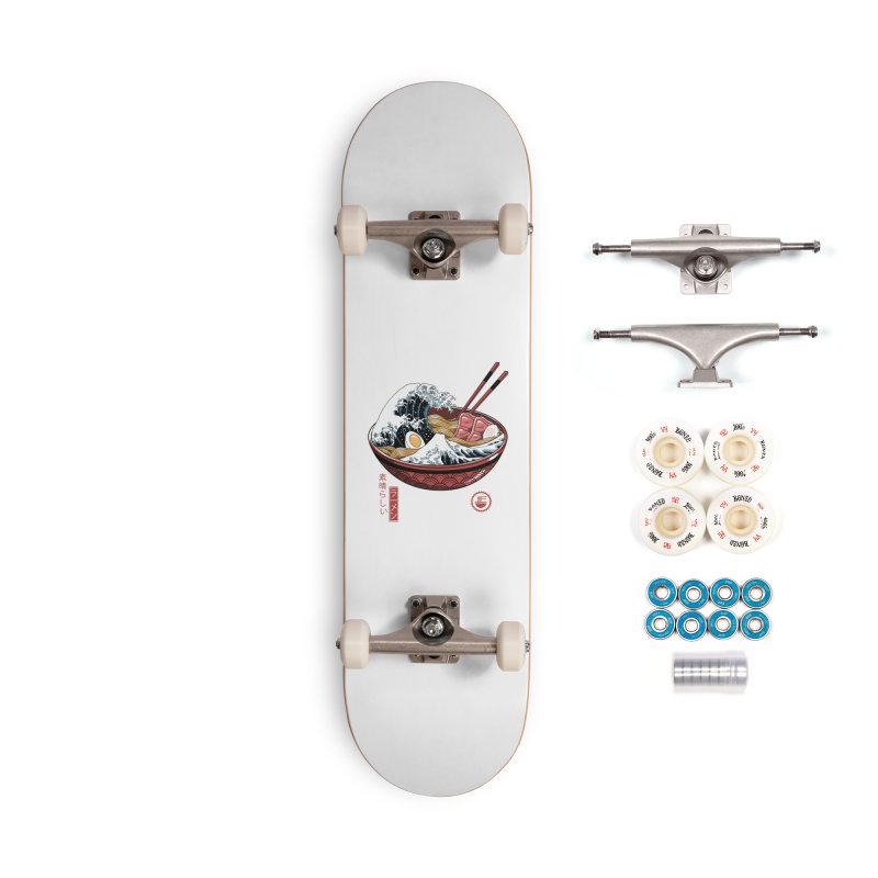 Great Ramen Wave White Accessories Complete - Premium Skateboard by Vincent Trinidad Art