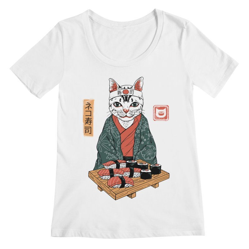 Neko Sushi Bar White Women's Regular Scoop Neck by Vincent Trinidad Art