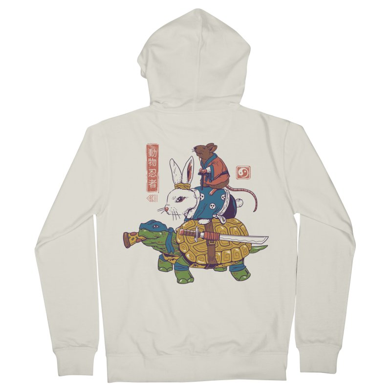 Kame, Usagi, and Ratto Ninjas White Men's French Terry Zip-Up Hoody by Vincent Trinidad Art