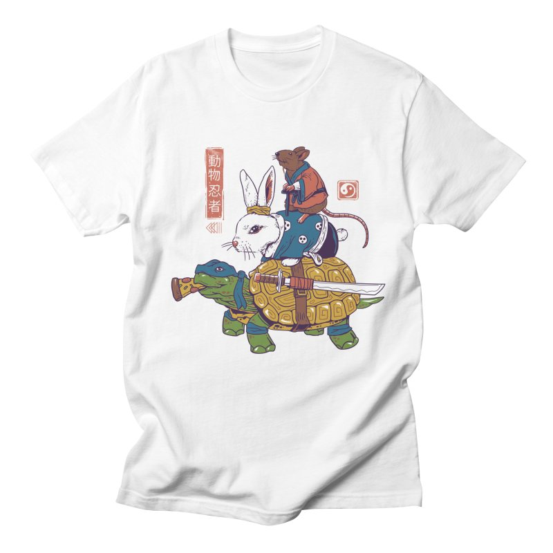 Kame, Usagi, and Ratto Ninjas White Women's Regular Unisex T-Shirt by Vincent Trinidad Art