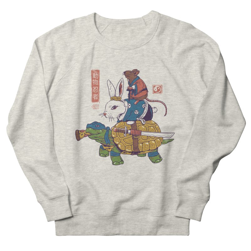 Kame, Usagi, and Ratto Ninjas White Women's French Terry Sweatshirt by Vincent Trinidad Art
