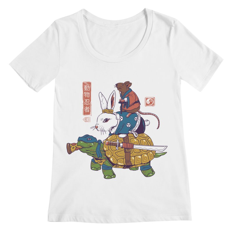 Kame, Usagi, and Ratto Ninjas White Women's Regular Scoop Neck by Vincent Trinidad Art