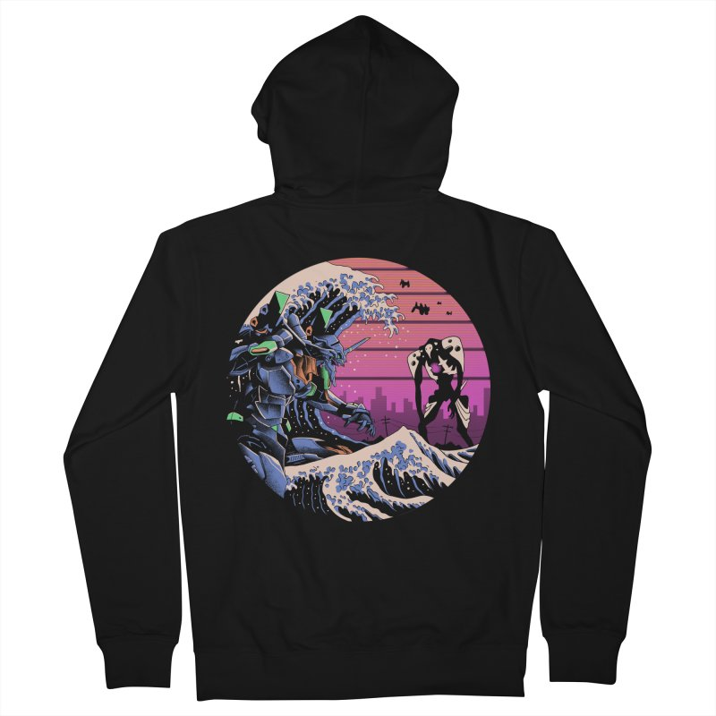 Retro Wave EVA Men's French Terry Zip-Up Hoody by Vincent Trinidad Art