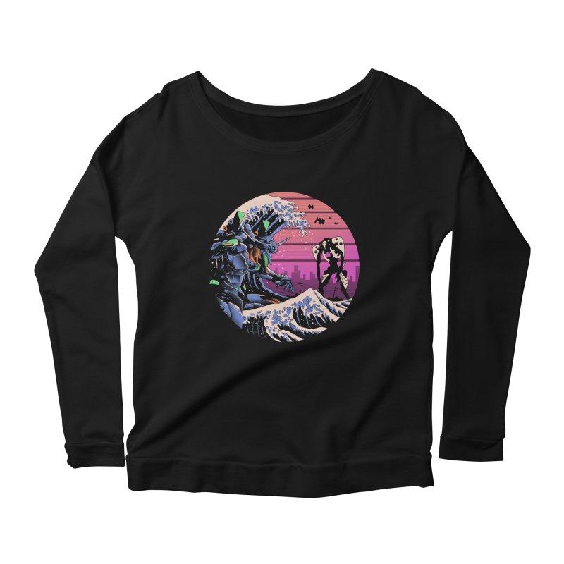 Retro Wave EVA Women's Scoop Neck Longsleeve T-Shirt by Vincent Trinidad Art