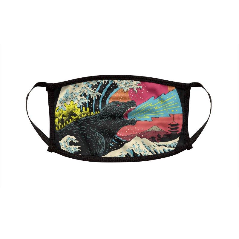 Retro Wave Kaiju Accessories Face Mask by Vincent Trinidad Art