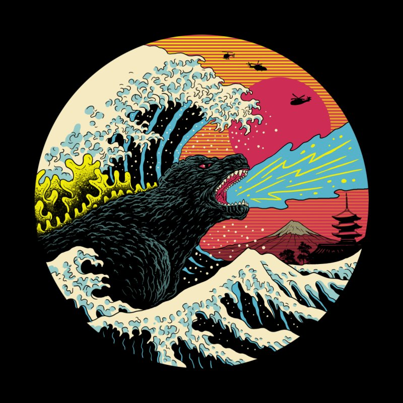 Retro Wave Kaiju Men's T-Shirt by Vincent Trinidad Art