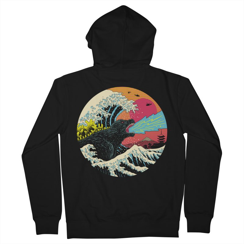 Retro Wave Kaiju Men's French Terry Zip-Up Hoody by Vincent Trinidad Art