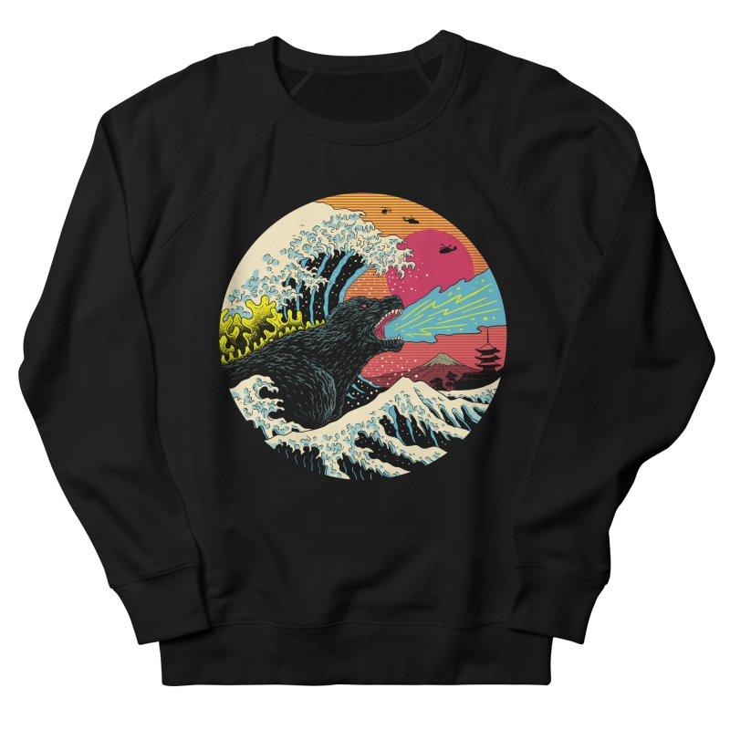 Retro Wave Kaiju Men's French Terry Sweatshirt by Vincent Trinidad Art