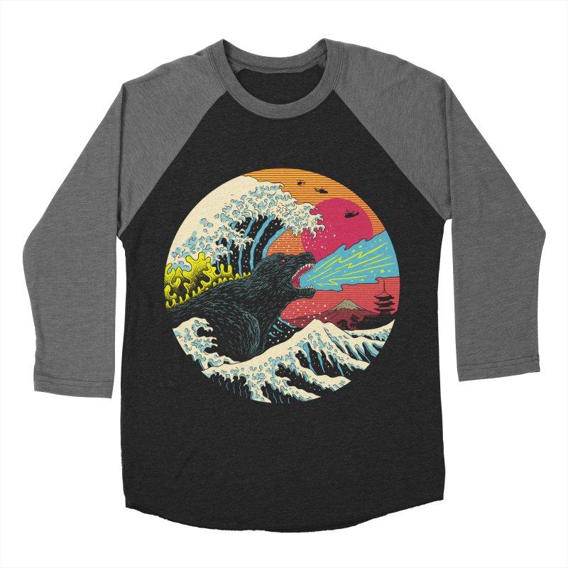 Retro Wave Kaiju Women's Baseball Triblend Longsleeve T-Shirt by Vincent Trinidad Art