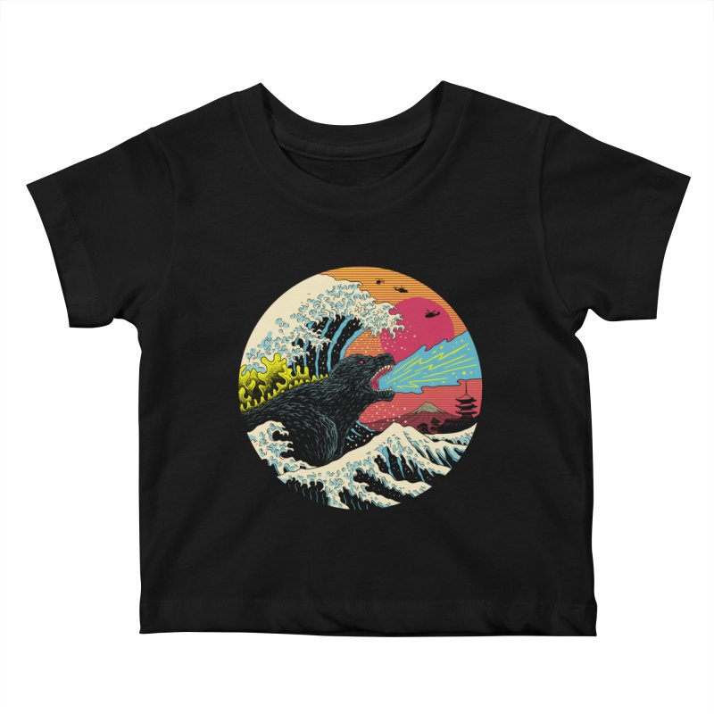Retro Wave Kaiju Kids Baby T-Shirt by Vincent Trinidad Art