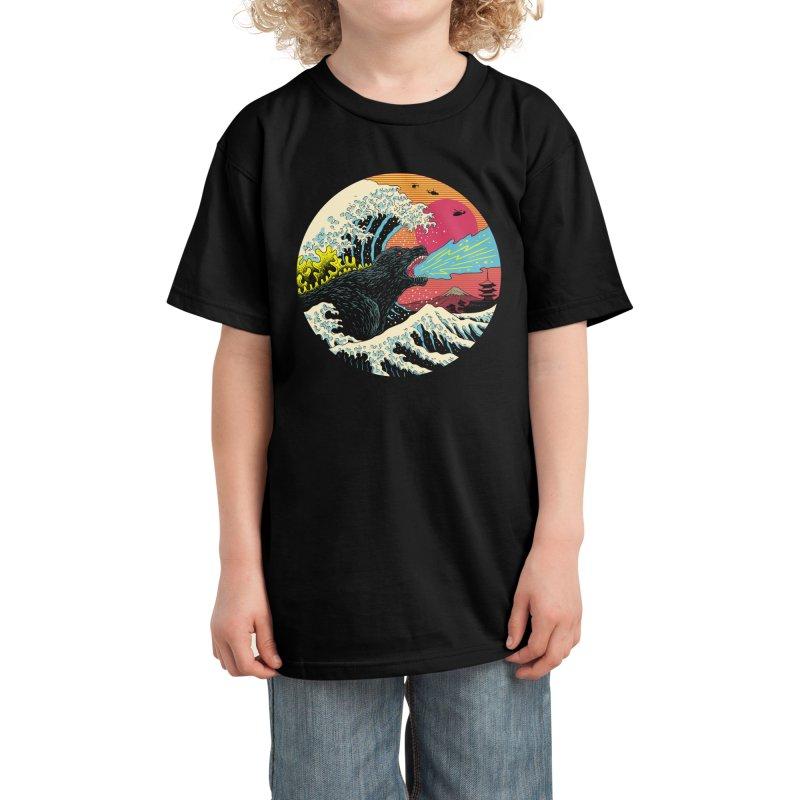 Retro Wave Kaiju Kids T-Shirt by Vincent Trinidad Art