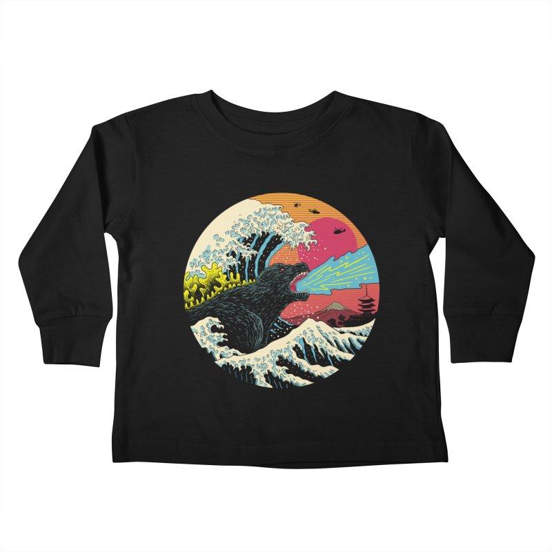Retro Wave Kaiju Kids Toddler Longsleeve T-Shirt by Vincent Trinidad Art