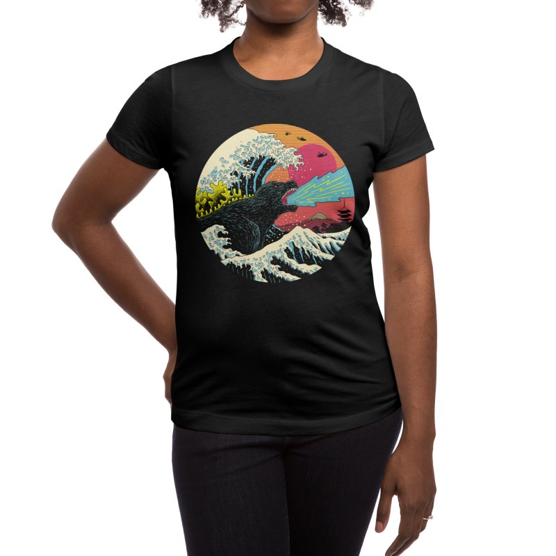 Retro Wave Kaiju Women's T-Shirt by Vincent Trinidad Art