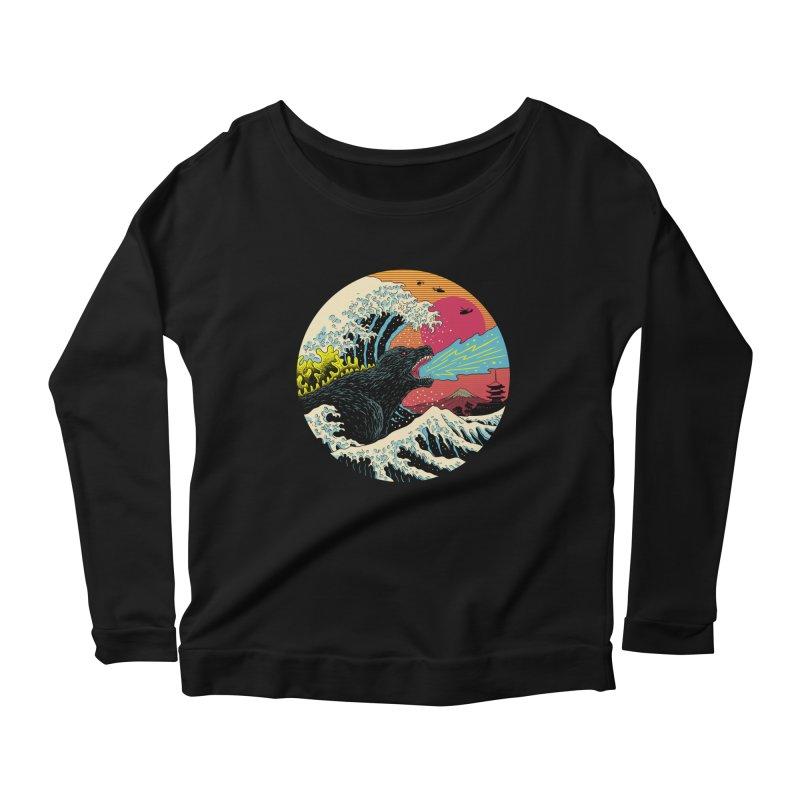 Retro Wave Kaiju Women's Scoop Neck Longsleeve T-Shirt by Vincent Trinidad Art