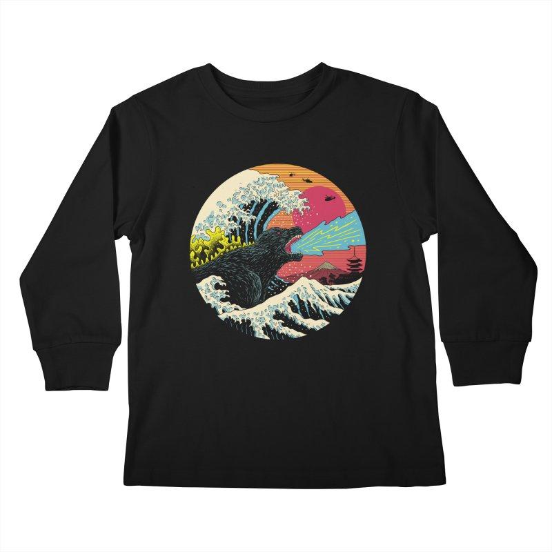 Retro Wave Kaiju Kids Longsleeve T-Shirt by Vincent Trinidad Art