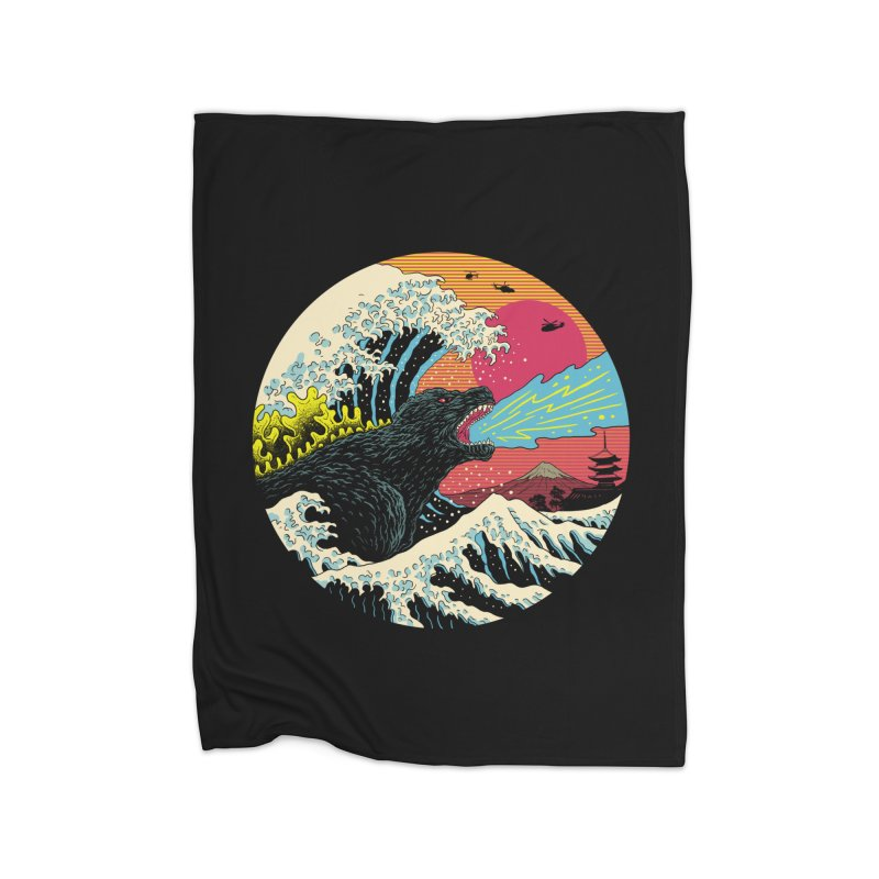 Retro Wave Kaiju Home Fleece Blanket Blanket by Vincent Trinidad Art