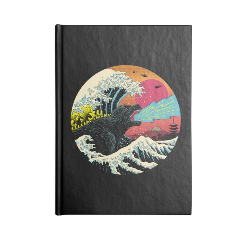 Retro Wave Kaiju Accessories Lined Journal Notebook by Vincent Trinidad Art