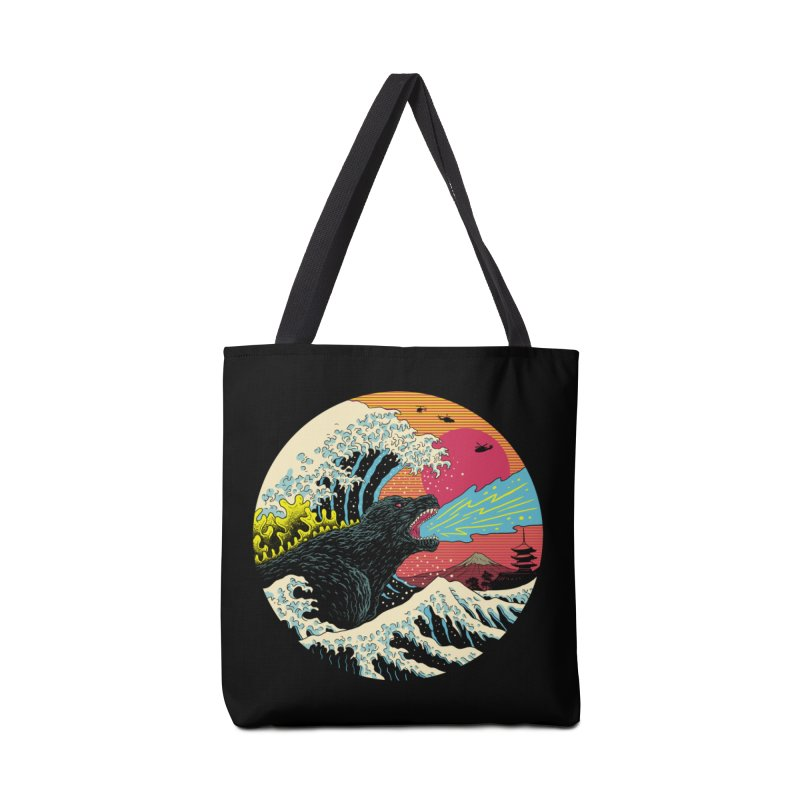 Retro Wave Kaiju Accessories Tote Bag Bag by Vincent Trinidad Art