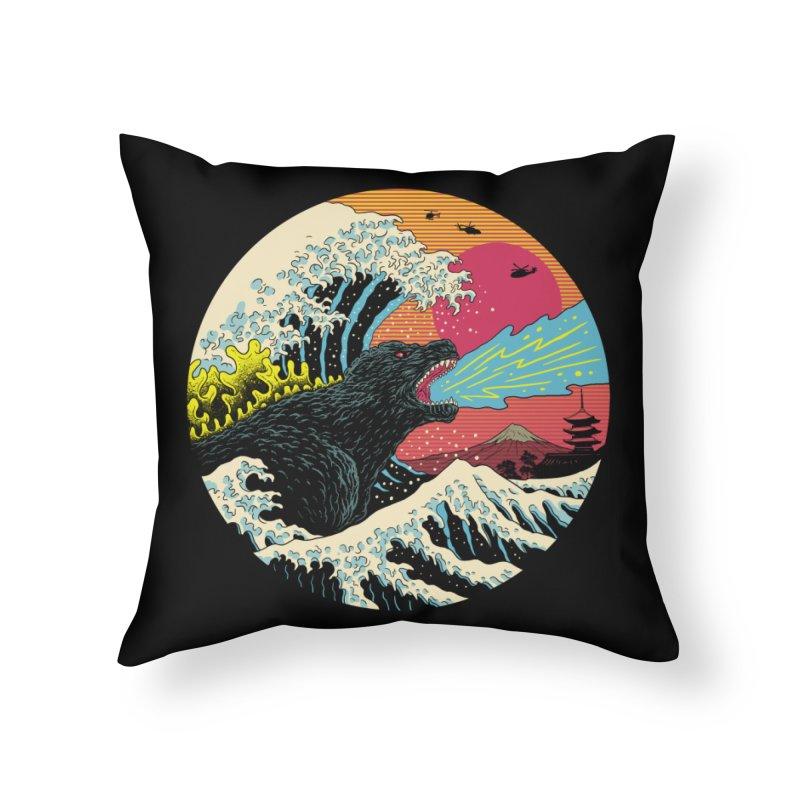 Retro Wave Kaiju Home Throw Pillow by Vincent Trinidad Art