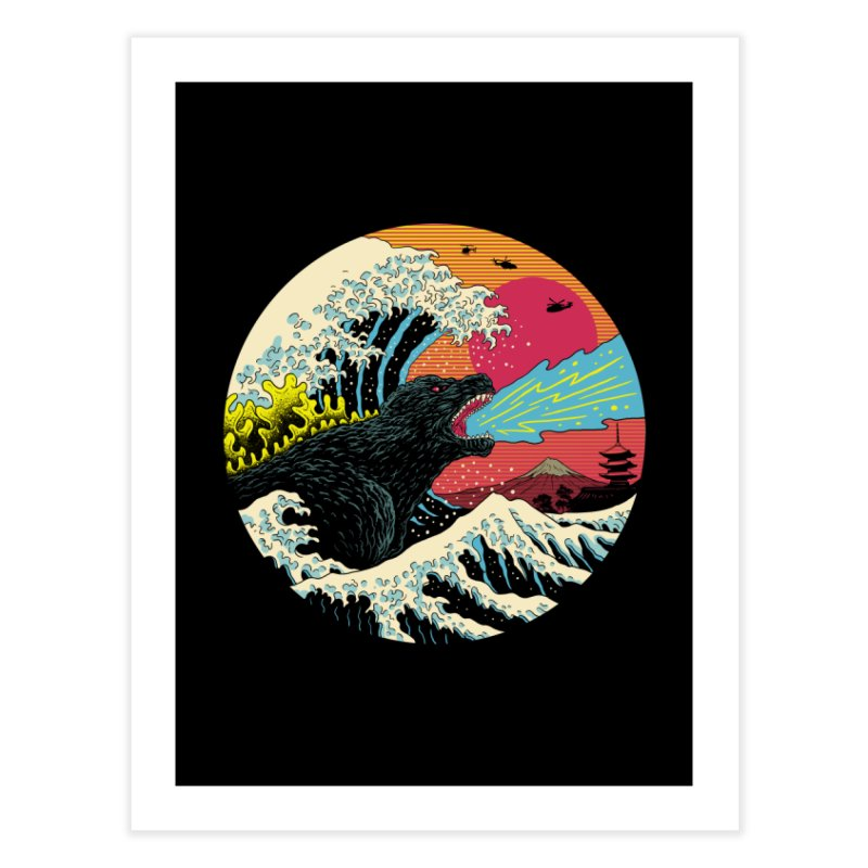 Retro Wave Kaiju Home Fine Art Print by Vincent Trinidad Art